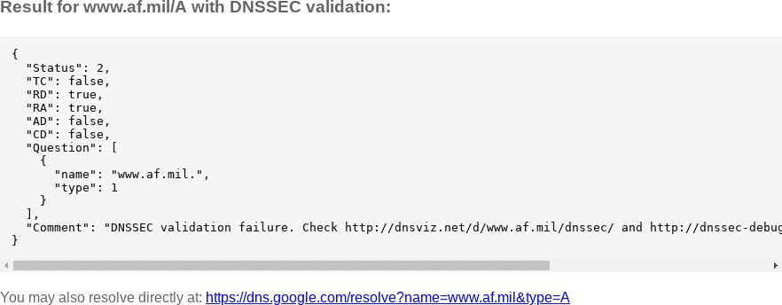 af mil DNSSEC Outage: 2019-05-09